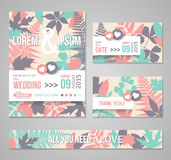 Retro wedding invitations with forest leaves Stock Images