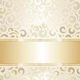 Retro wedding wallpaper design ecru & gold Stock Image
