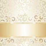 Retro wedding wallpaper design ecru & gold Stock Image