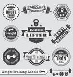 Retro Weight Lifting Labels and Stickers. Collection of vintage style weight lifting labels and badges Royalty Free Stock Photo