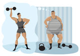 Retro weightlifter. Before starting exercise retro sportsman sees himself in a perfect shape vector illustration