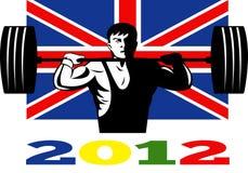retro weightlifting för 2012 brittiska flaggalekar stock illustrationer
