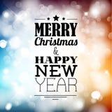 Retro- Weihnachtsaufkleber auf unscharfem Hintergrund Stockfoto