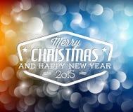 Retro- Weihnachtsaufkleber auf unscharfem Hintergrund Stockfotos