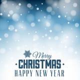 Retro- Weihnachtsaufkleber auf unscharfem Hintergrund Stockbild