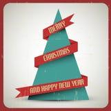 Retro- Weihnachtsbaum grunge Vektor der Weinlese vektor abbildung