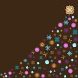 Retro- Weihnachtsbaum mit Weinleseblumen Stockfotografie