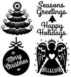 Retro- Weihnachtsclip Art Set Lizenzfreies Stockfoto