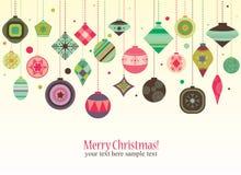 Retro- Weihnachtsdekorationen Lizenzfreies Stockfoto