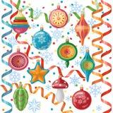 Retro- Weihnachtsdekorationen eingestellt Stockbild