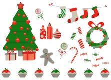 Retro- Weihnachtselemente lizenzfreie abbildung