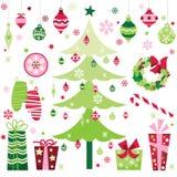 Retro- Weihnachtsgestaltungselemente Stockbild