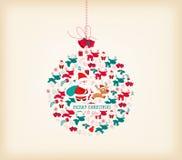 Retro- Weihnachtshintergrund mit Ball Lizenzfreie Stockbilder