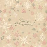 Retro- Weihnachtshintergrund mit Schneeflocken Stockbilder