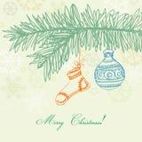 Retro- Weihnachtskarte lizenzfreie abbildung