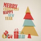 Retro- Weihnachtskarte mit Weihnachtsbaum und Geschenken Stockfotografie