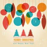Retro- Weihnachtskarte mit Weihnachtssymbolen Lizenzfreies Stockbild