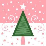 Retro- Weihnachtskarte [Rosa] Lizenzfreies Stockfoto