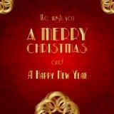 Retro- Weihnachtskarte. Weinleseillustration Lizenzfreies Stockbild