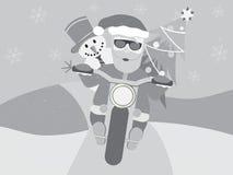 Retro- Weihnachtsmann auf Motorrad mit dem Schneemann flach Lizenzfreies Stockbild