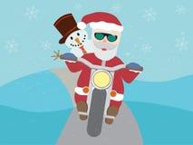 Retro- Weihnachtsmann auf Motorrad mit dem Schneemann flach Stockbild