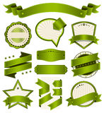Retro- Weinlese-Ausweis, Aufkleber und Fahnen-Satz Lizenzfreie Stockbilder