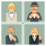Retro- Weinlese-Foto gestaltet wohlhabenden viktorianischen Herr-Geschäftsmann Old Young Family Lizenzfreie Stockfotos