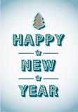 Retro- Weinlese-guten Rutsch ins Neue Jahr-Gruß-Karte Stockfotos