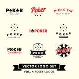 Retro- Weinlese-Hippie-Poker-Vektor Logo Set Lizenzfreies Stockbild