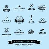 Retro- Weinlese-Hippie-Restaurant-Vektor Logo Set Lizenzfreie Stockfotos