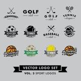 Retro- Weinlese-Hippie-Sport-Vektor Logo Set Baseball, Tennis, Fußball, Fußball, Golf, icehockey, Basketball Stockfotografie