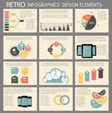 Retro- Weinlese Infographic-Schablonen-Geschäftsvektor Lizenzfreie Stockfotos