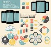 Retro- Weinlese Infographic-Schablonen-Geschäftsvektor Stockbilder