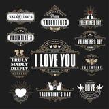 Retro- Weinlese-Insignien oder Firmenzeichen stellten für Valentinsgrußtag ein Vec Stockfotografie