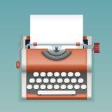 Retro- Weinlese-manuelle Schreibmaschine mit Blatt-Verfasser-Mass Media Press-Journalist-Icon Realistics 3d des leeren Papiers fl Stockfotos