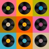 Retro-, Weinlese-Vektor-Vinylaufzeichnungs-Diskette Lizenzfreie Stockfotos