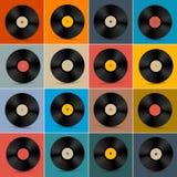 Retro-, Weinlese-Vektor-Vinylaufzeichnungs-Disketten-Satz Lizenzfreies Stockbild