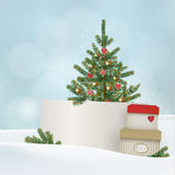 Retro-, Weinlese Weihnachten, Grußkarte des neuen Jahres, Einladung Winterlandschaft mit Geschenkboxen, Tanne, gezierter Weihnach Lizenzfreie Stockbilder