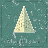 Retro--Weinlese Weihnachtsbaumbeige und -Green Card Lizenzfreie Stockfotografie