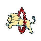 Retro- Weinleseart Zirkus bildete Leistung der wilden Tiere lokalisiert auf Weiß aus Löwe springt über den Ring im Feuer Lizenzfreie Stockbilder
