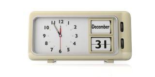 Retro wekker met datum 31 December op witte achtergrond wordt geïsoleerd die 3D Illustratie royalty-vrije illustratie