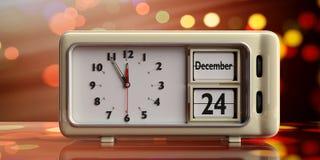 Retro wekker met de datum van de Kerstmisvooravond, 24 December op feestelijk, bokeh achtergrond 3D Illustratie vector illustratie