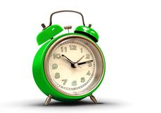 Retro wekker met groen lichaam en aantallen Stock Foto