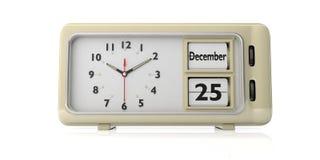 Retro wekker met Kerstmisdatum, 25 December op witte achtergrond wordt geïsoleerd die 3D Illustratie royalty-vrije illustratie