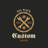 Retro Wektorowa Rowerowa zwyczaju sklepu etykietka lub logo Zdjęcia Royalty Free