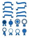 Retro wektorowi błękitni sztandarów faborki, odznaki dla sprzedaży odizolowywającej na białym tle i royalty ilustracja
