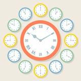 Retro Wektorowi Romańskiego liczebnika zegary Pokazuje Wszystkie 12 godziny Zdjęcia Royalty Free