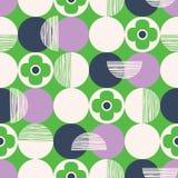 Retro Wektorowy Bezszwowy wzór z Textured abstraktem i okręgami Kwitnie na Zielonym tle Świeży Geometryczny Kwiecisty royalty ilustracja