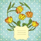 Retro wektorowy winiety tło z tulipanów kwiatami Fotografia Royalty Free