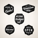 Retro Welcome and Open Signs or Labels. Textured Royalty Free Stock Photo